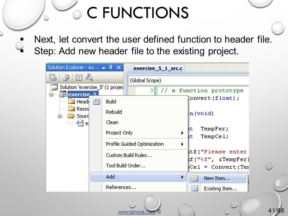  Next, let convert the user defined function to header file.