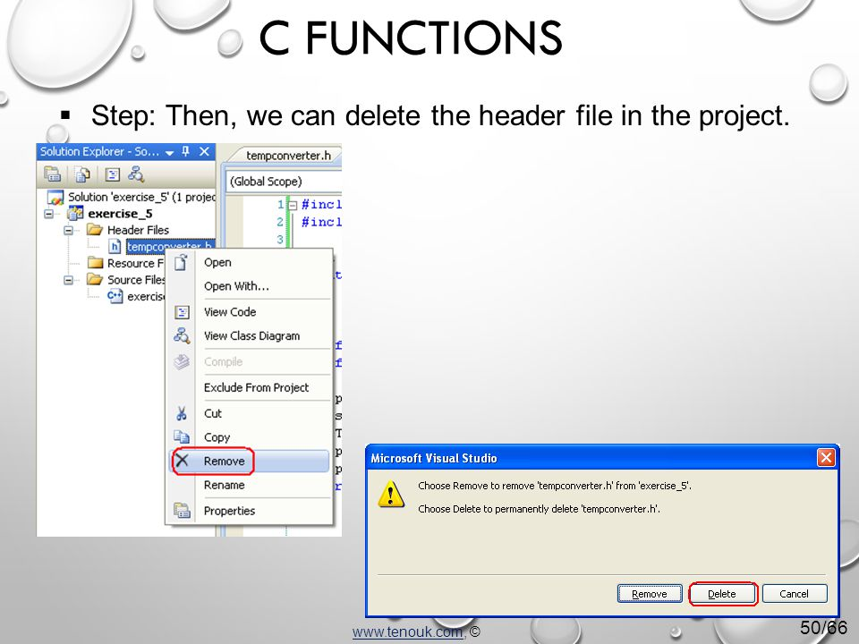  Step: Then, we can delete the header file in the project.