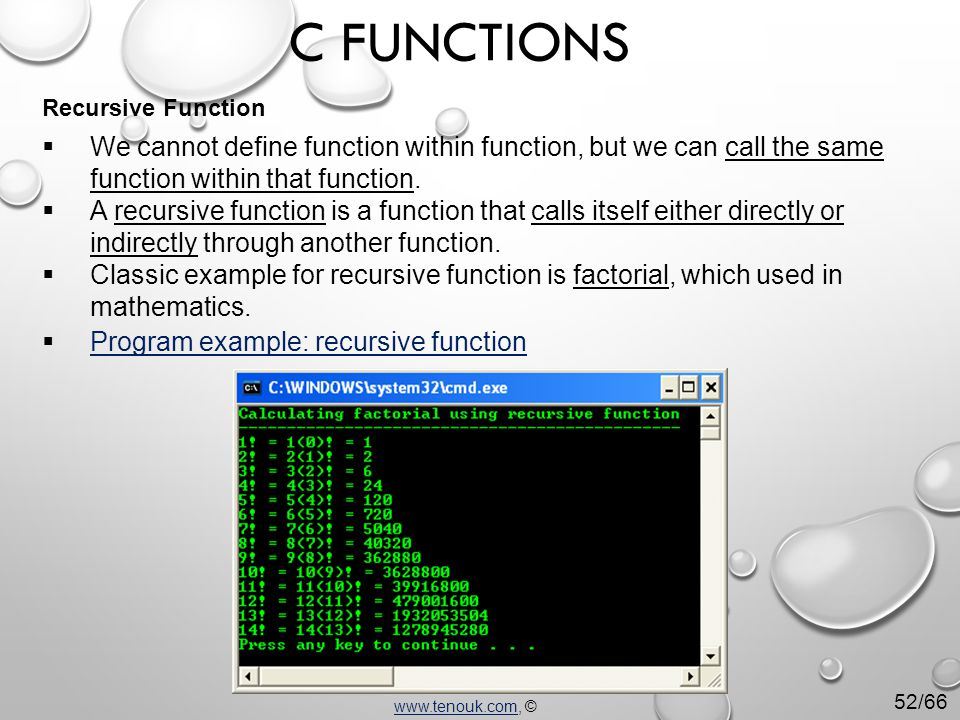  We cannot define function within function, but we can call the same function within that function.