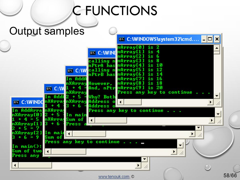 www.tenouk.comwww.tenouk.com, © C FUNCTIONS Output samples 58/66