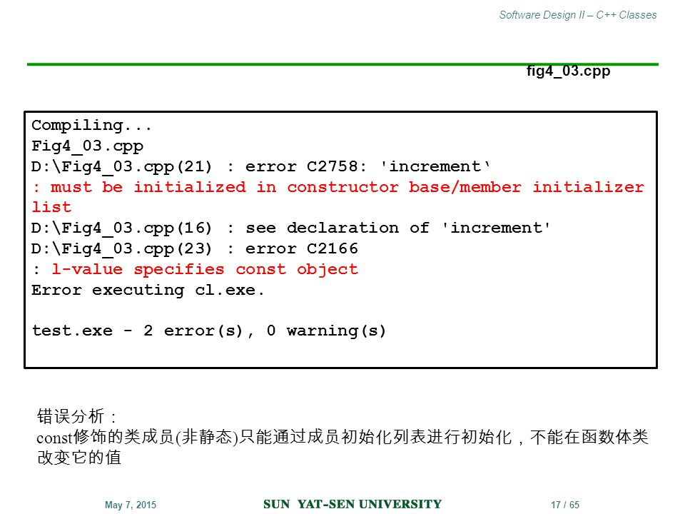 Software Design II – C++ Classes 17 / 65May 7, 2015 fig4_03.cpp Compiling... Fig4_03.cpp D:\Fig4_03.cpp(21) : error C2758: 'increment' : must be initi
