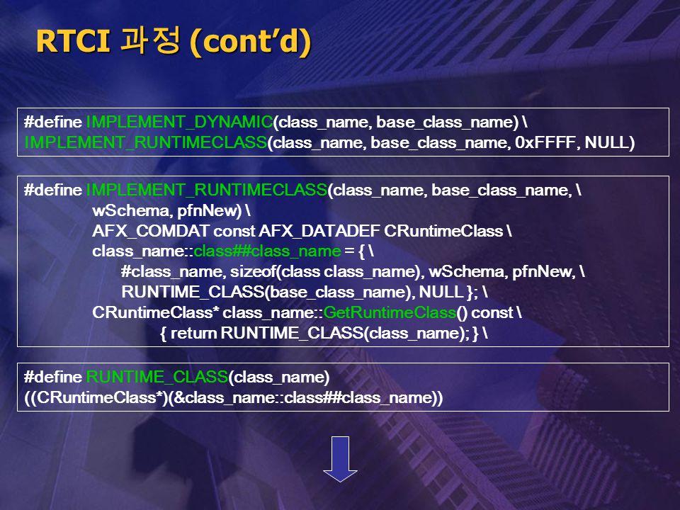 RTCI 과정 (cont'd) #define IMPLEMENT_DYNAMIC(class_name, base_class_name) \ IMPLEMENT_RUNTIMECLASS(class_name, base_class_name, 0xFFFF, NULL) #define IM