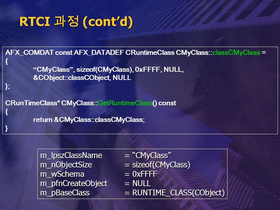 "AFX_COMDAT const AFX_DATADEF CRuntimeClass CMyClass::classCMyClass = { "" CMyClass "", sizeof(CMyClass), 0xFFFF, NULL, &CObject::classCObject, NULL }; C"