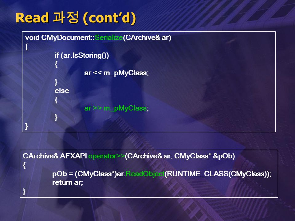 Read 과정 (cont'd) void CMyDocument::Serialize(CArchive& ar) { if (ar.IsStoring()) { ar << m_pMyClass; } else { ar >> m_pMyClass; } CArchive& AFXAPI ope