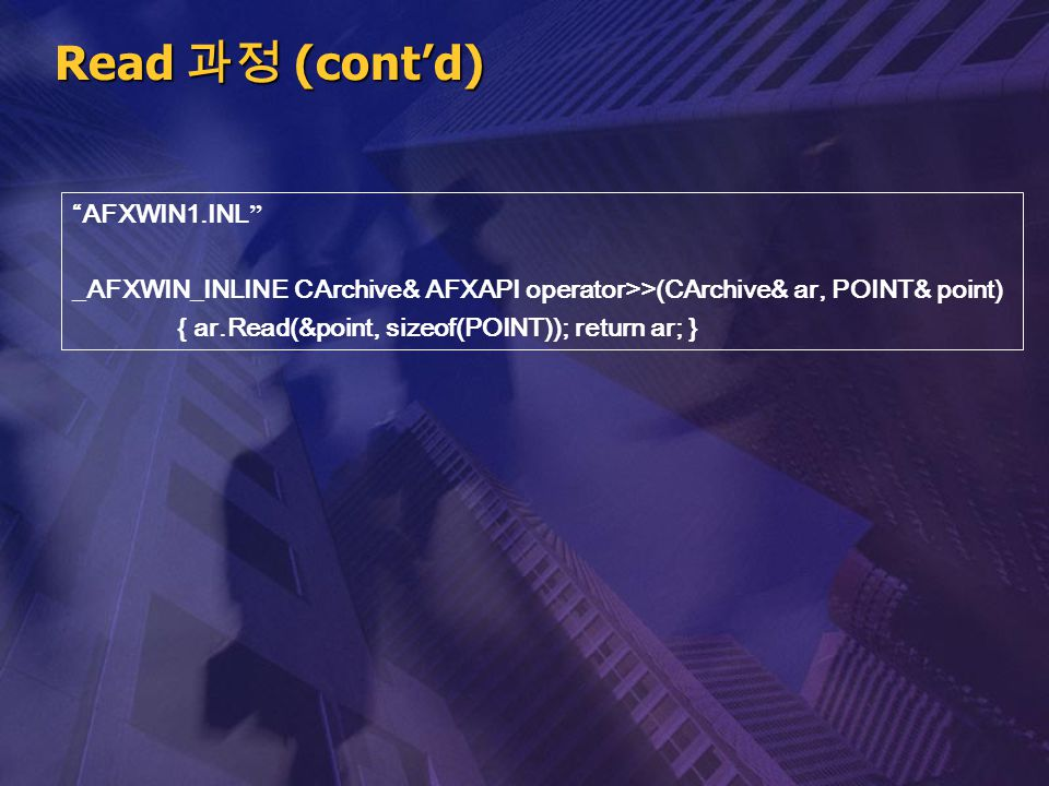 """Read 과정 (cont'd) """" AFXWIN1.INL """" _AFXWIN_INLINE CArchive& AFXAPI operator>>(CArchive& ar, POINT& point) { ar.Read(&point, sizeof(POINT)); return ar; }"""