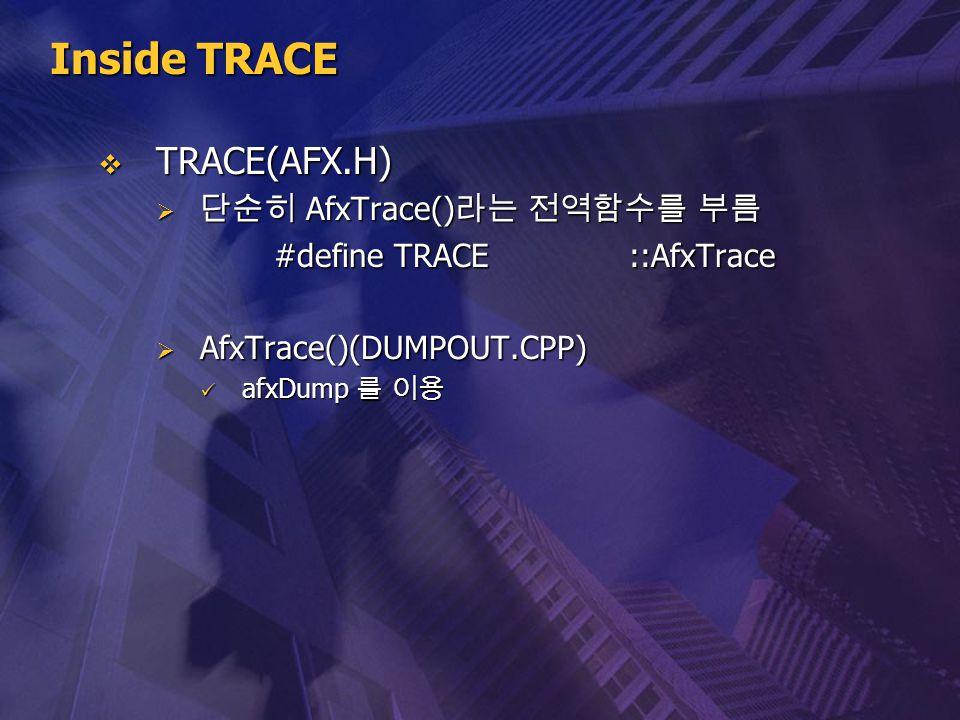 Inside TRACE  TRACE(AFX.H)  단순히 AfxTrace() 라는 전역함수를 부름 #define TRACE ::AfxTrace  AfxTrace()(DUMPOUT.CPP) afxDump 를 이용 afxDump 를 이용