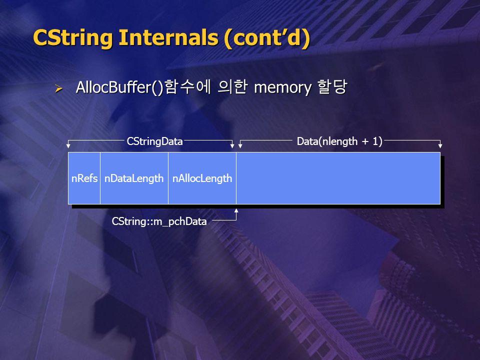  AllocBuffer() 함수에 의한 memory 할당 nRefs nDataLength nAllocLength CString::m_pchData CStringDataData(nlength + 1) CString Internals (cont'd)