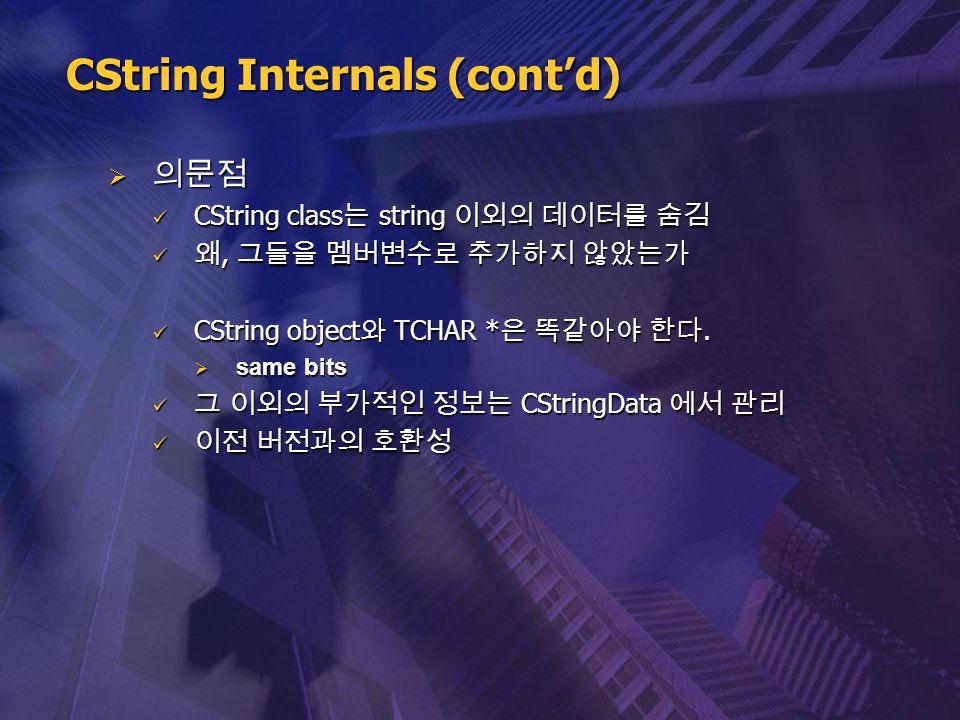  의문점 CString class 는 string 이외의 데이터를 숨김 CString class 는 string 이외의 데이터를 숨김 왜, 그들을 멤버변수로 추가하지 않았는가 왜, 그들을 멤버변수로 추가하지 않았는가 CString object 와 TCHAR * 은 똑