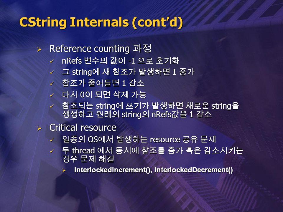  Reference counting 과정 nRefs 변수의 값이 -1 으로 초기화 nRefs 변수의 값이 -1 으로 초기화 그 string 에 새 참조가 발생하면 1 증가 그 string 에 새 참조가 발생하면 1 증가 참조가 줄어들면 1 감소 참조가 줄어들면 1 감