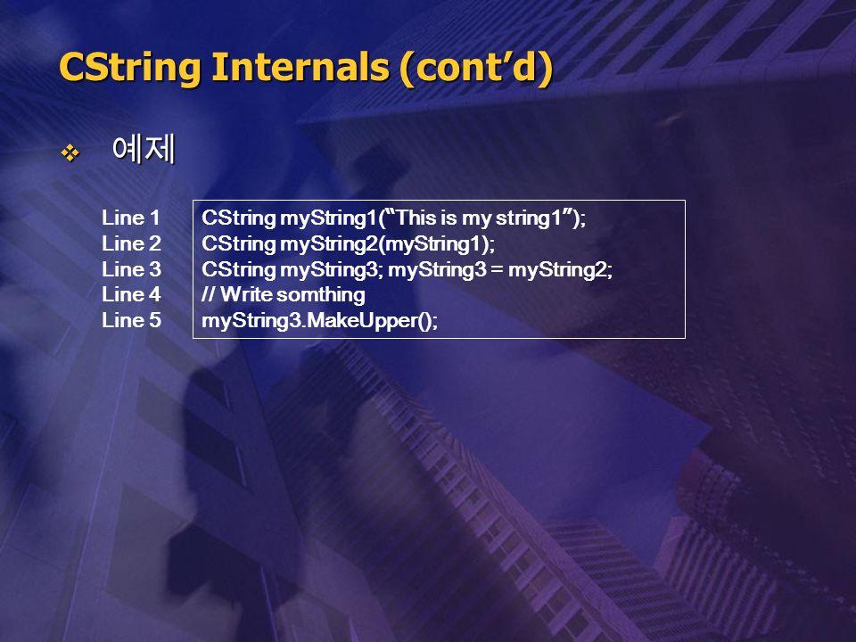 """ 예제 CString Internals (cont'd) CString myString1( """" This is my string1 """" ); CString myString2(myString1); CString myString3; myString3 = myString2; /"""