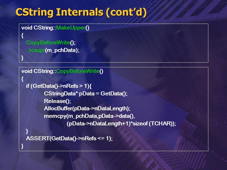 CString Internals (cont'd) void CString::MakeUpper() { CopyBeforeWrite(); _tcsupr(m_pchData); } void CString::CopyBeforeWrite() { if (GetData()->nRefs