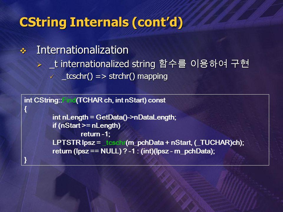  Internationalization  _t internationalized string 함수를 이용하여 구현 _tcschr() => strchr() mapping _tcschr() => strchr() mapping int CString::Find(TCHAR c