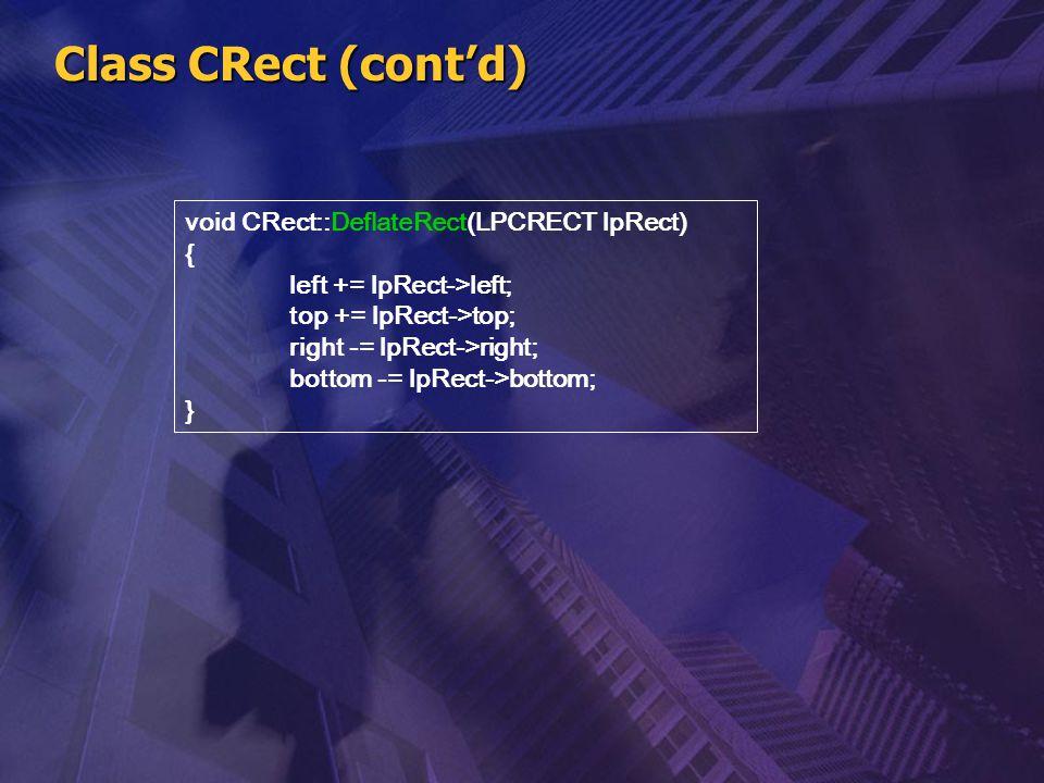 Class CRect (cont'd) void CRect::DeflateRect(LPCRECT lpRect) { left += lpRect->left; top += lpRect->top; right -= lpRect->right; bottom -= lpRect->bot