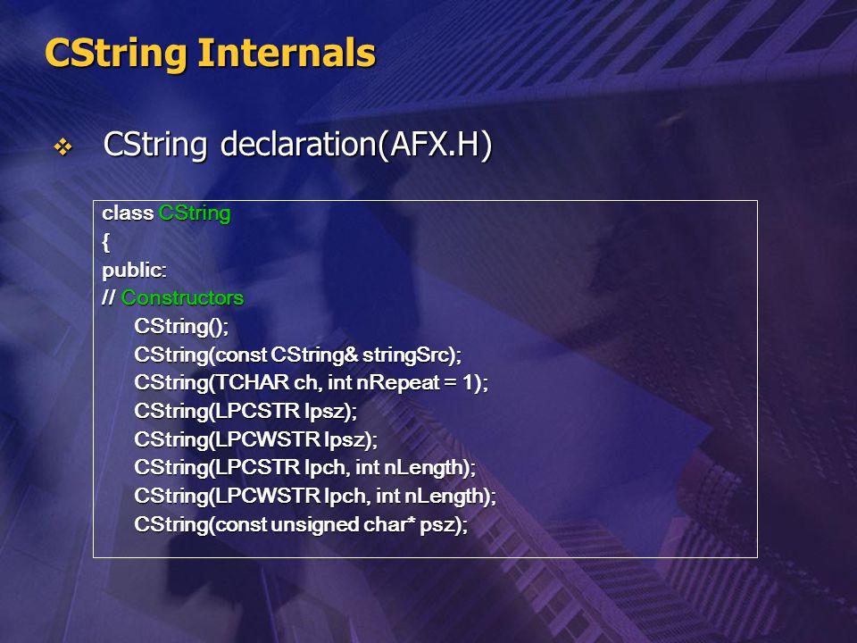 CString Internals  CString declaration(AFX.H) class CString {public: // Constructors CString(); CString(const CString& stringSrc); CString(TCHAR ch,