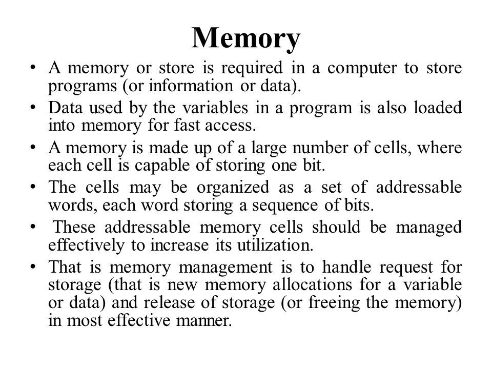 MEMORY ALLOCATION IN C There are two types of memory allocations in C: 1.