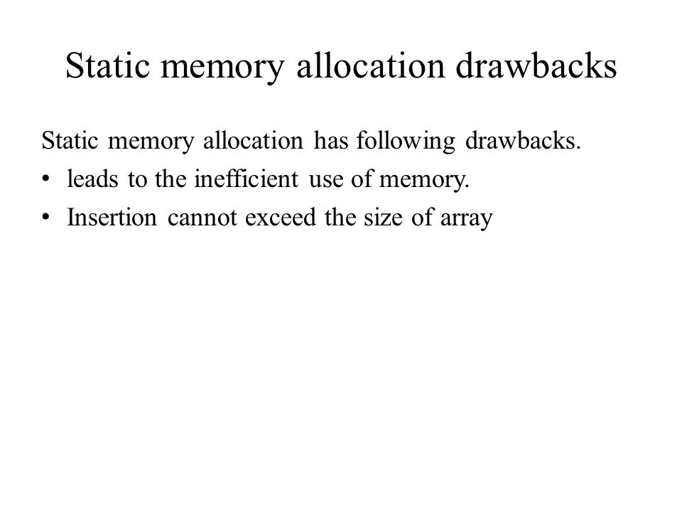 Static memory allocation drawbacks Static memory allocation has following drawbacks.