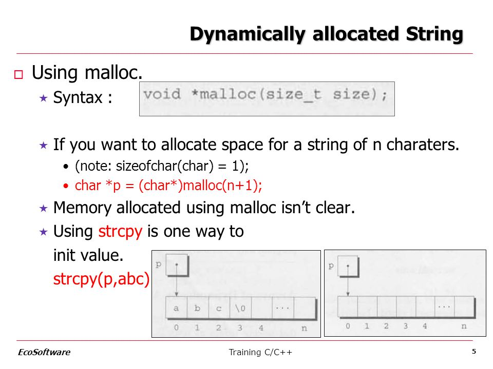 Dynamically allocated String o Using malloc.  Syntax :  If you want to allocate space for a string of n charaters. (note: sizeofchar(char) = 1); cha