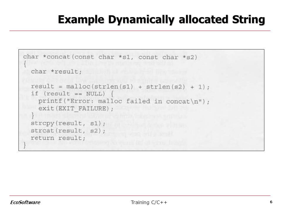 Example Dynamically allocated String Training C/C++ EcoSoftware 6