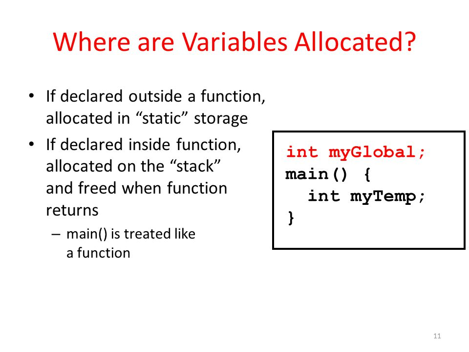 Where are Variables Allocated.