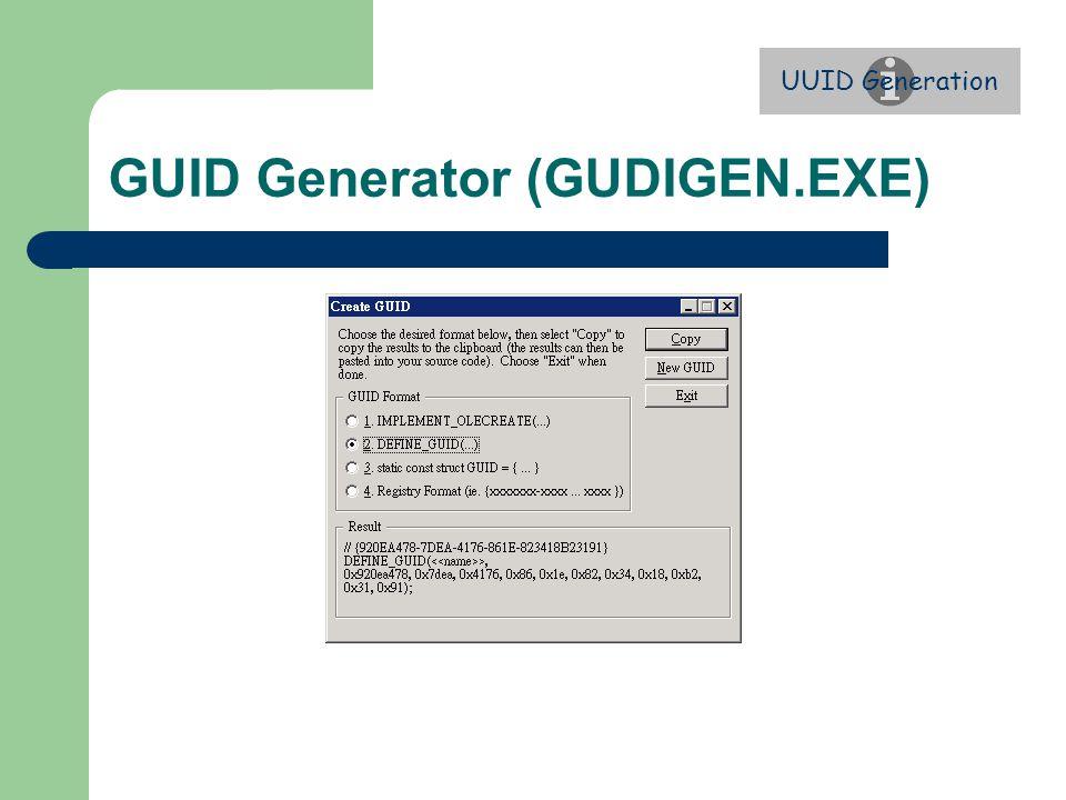 GUID Generator (GUDIGEN.EXE) UUID Generation