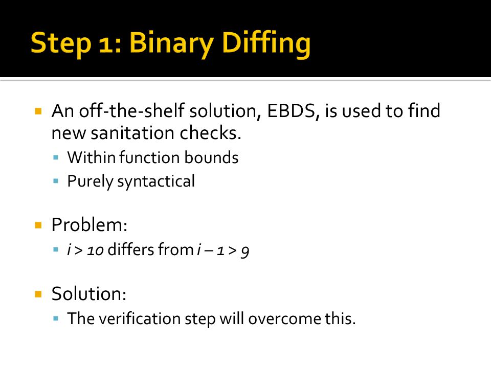  An off-the-shelf solution, EBDS, is used to find new sanitation checks.