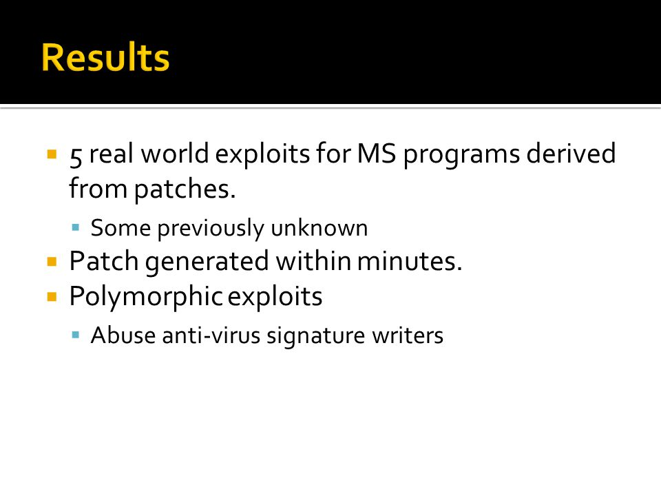  5 real world exploits for MS programs derived from patches.