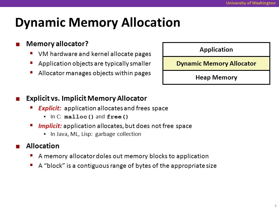 University of Washington Implementation Issues How to know how much memory is being free() 'd when it is given only a pointer (and no length).
