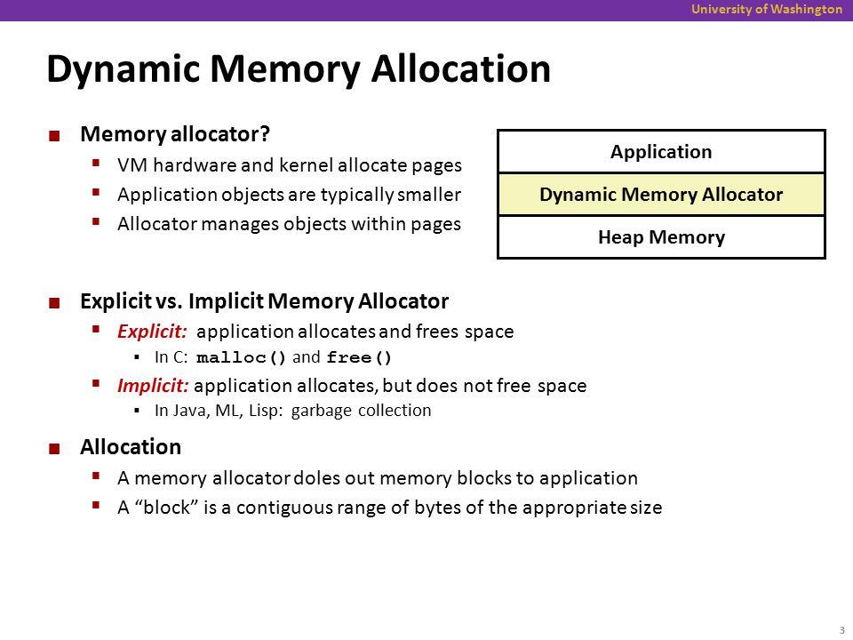 University of Washington Dynamic Memory Allocation Memory allocator.