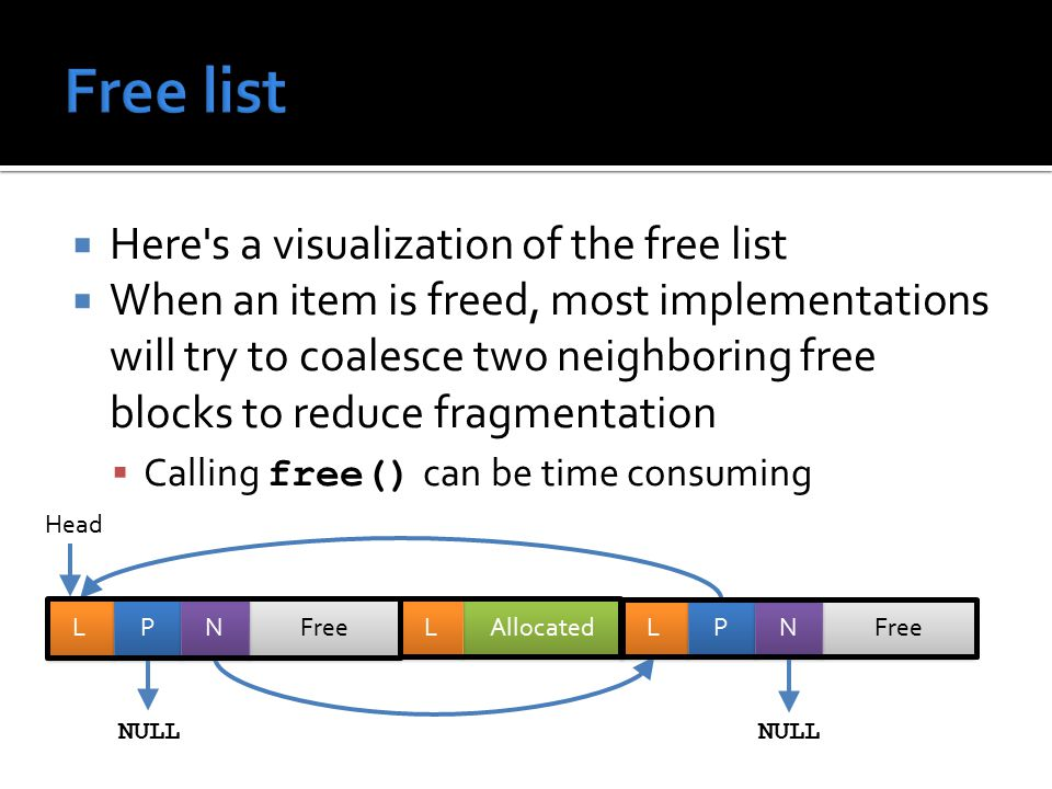  Here s a visualization of the free list  When an item is freed, most implementations will try to coalesce two neighboring free blocks to reduce fragmentation  Calling free() can be time consuming Head Allocated L L Free L L P P N N L L P P N N NULL