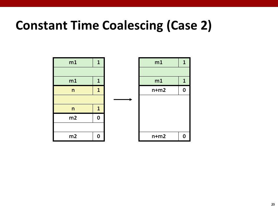 29 m11 Constant Time Coalescing (Case 2) m11 n+m20 0 m11 1 n1 n1 m20 0