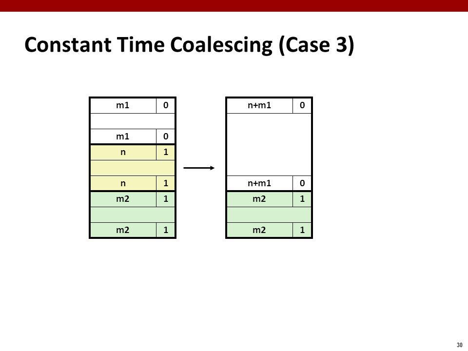 30 m10 Constant Time Coalescing (Case 3) m10 n1 n1 m21 1 n+m10 0 m21 1