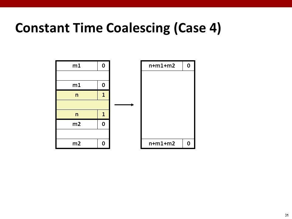 31 m10 Constant Time Coalescing (Case 4) m10 n1 n1 m20 0 n+m1+m20 0