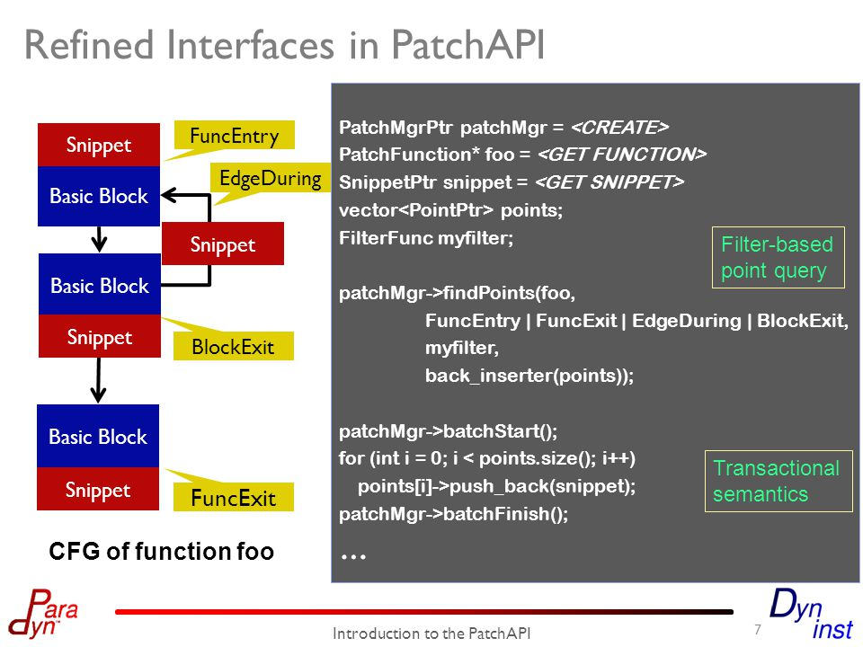 Design Challenge 1: Backward Compatibility o PatchAPI has refined interfaces for code patching.