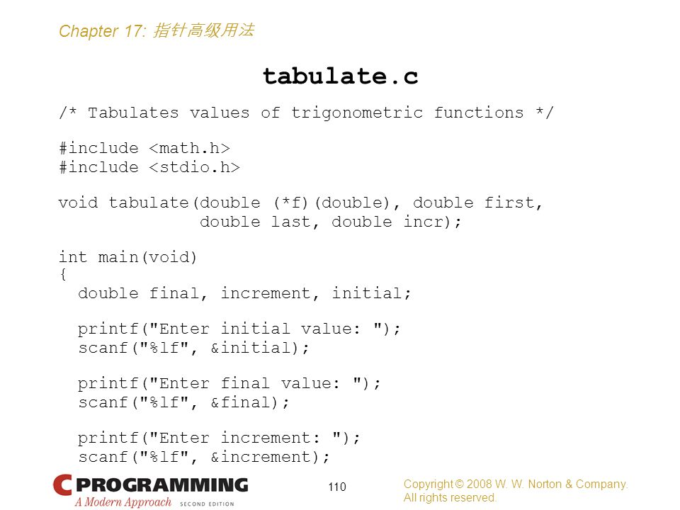Chapter 17: 指针高级用法 tabulate.c /* Tabulates values of trigonometric functions */ #include void tabulate(double (*f)(double), double first, double last, double incr); int main(void) { double final, increment, initial; printf( Enter initial value: ); scanf( %lf , &initial); printf( Enter final value: ); scanf( %lf , &final); printf( Enter increment: ); scanf( %lf , &increment); Copyright © 2008 W.