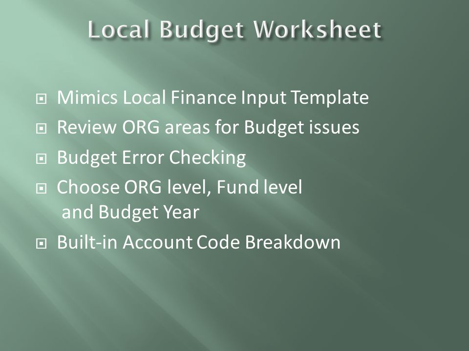  Mimics Local Finance Input Template  Review ORG areas for Budget issues  Budget Error Checking  Choose ORG level, Fund level and Budget Year  Built-in Account Code Breakdown