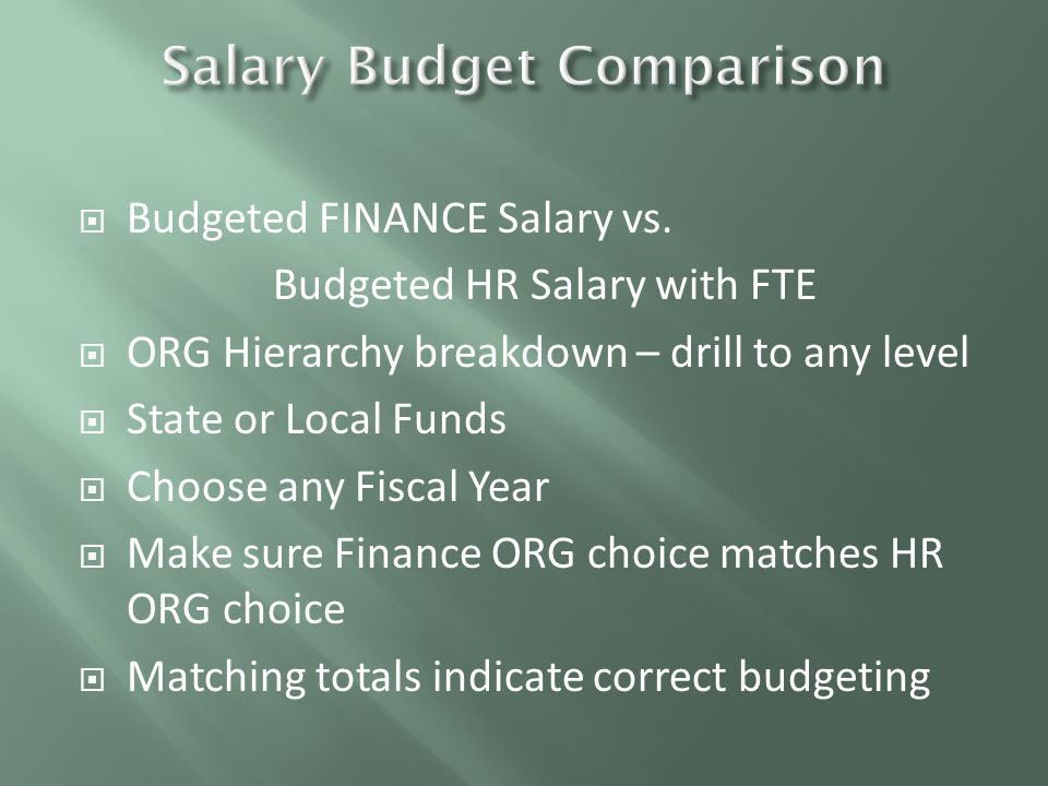  Validate that State Budget Reallocations balance to zero  Choose ORG level and Budget Year