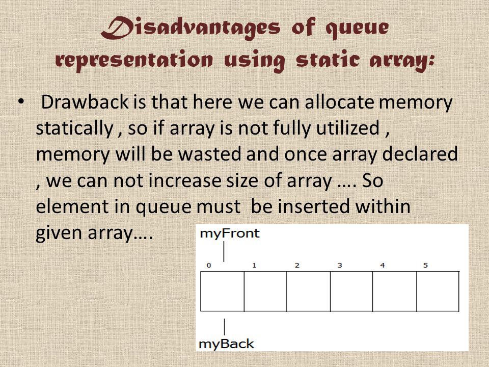 Disadvantages of queue representation using static array: Drawback is that here we can allocate memory statically, so if array is not fully utilized, memory will be wasted and once array declared, we can not increase size of array ….
