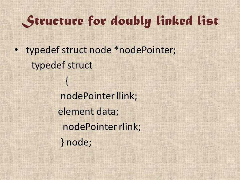 Structure for doubly linked list typedef struct node *nodePointer; typedef struct { nodePointer llink; element data; nodePointer rlink; } node;