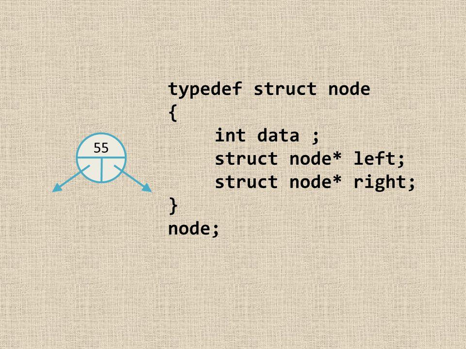 typedef struct node { int data ; struct node* left; struct node* right; } node; 55