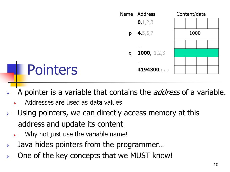 Pointers  A pointer is a variable that contains the address of a variable.