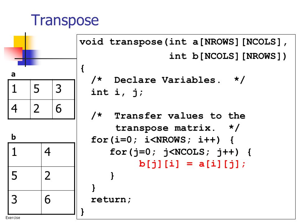 101 Transpose void transpose(int a[NROWS][NCOLS], int b[NCOLS][NROWS]) { /* Declare Variables.