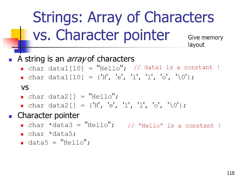 Strings: Array of Characters vs.