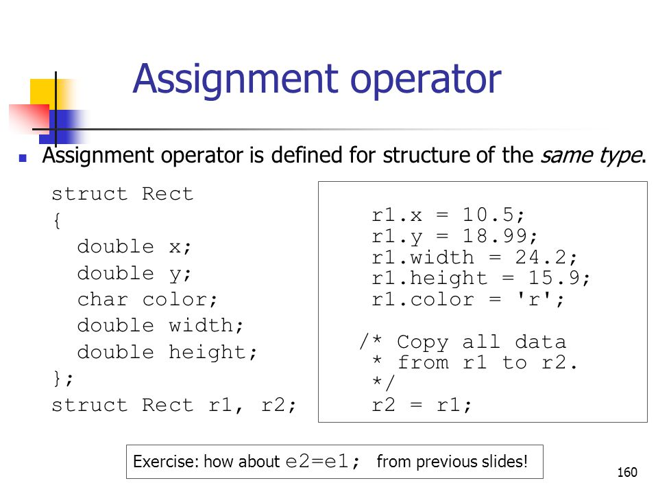160 Assignment operator Assignment operator is defined for structure of the same type.