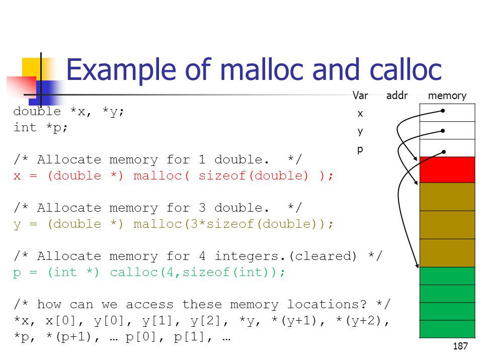 187 Example of malloc and calloc double *x, *y; int *p; /* Allocate memory for 1 double.