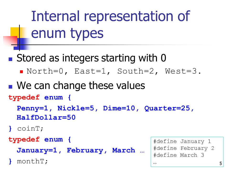 Internal representation of enum types Stored as integers starting with 0 North=0, East=1, South=2, West=3.