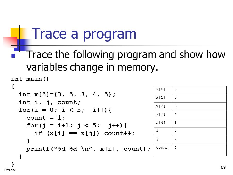69 Trace a program Trace the following program and show how variables change in memory.
