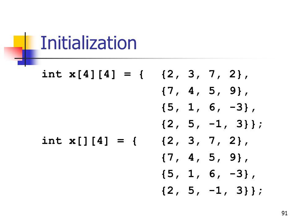 91 Initialization int x[4][4] = {{2, 3, 7, 2}, {7, 4, 5, 9}, {5, 1, 6, -3}, {2, 5, -1, 3}}; int x[][4] = {{2, 3, 7, 2}, {7, 4, 5, 9}, {5, 1, 6, -3}, {2, 5, -1, 3}};