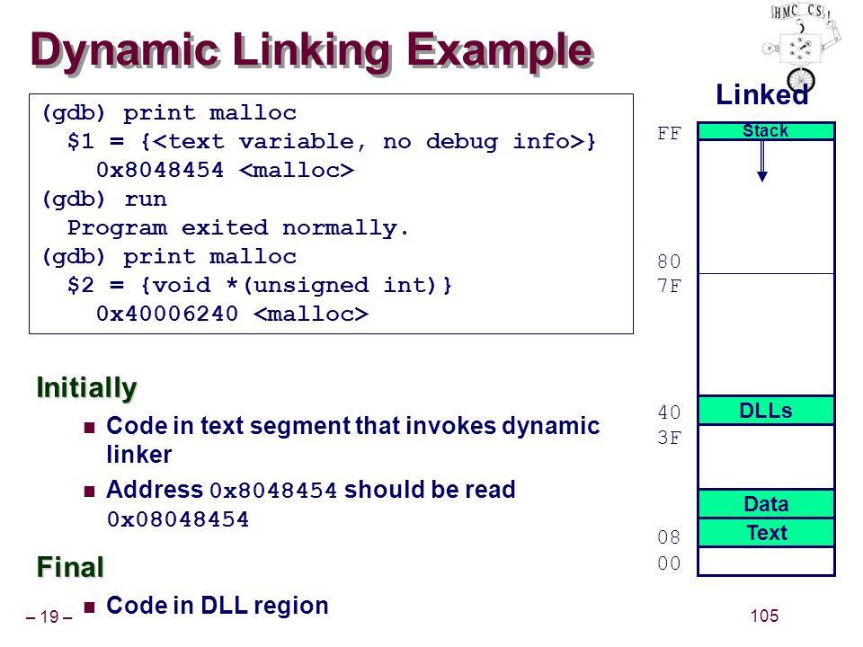 – 19 – 105 Dynamic Linking Example (gdb) print malloc $1 = { } 0x8048454 (gdb) run Program exited normally. (gdb) print malloc $2 = {void *(unsigned i
