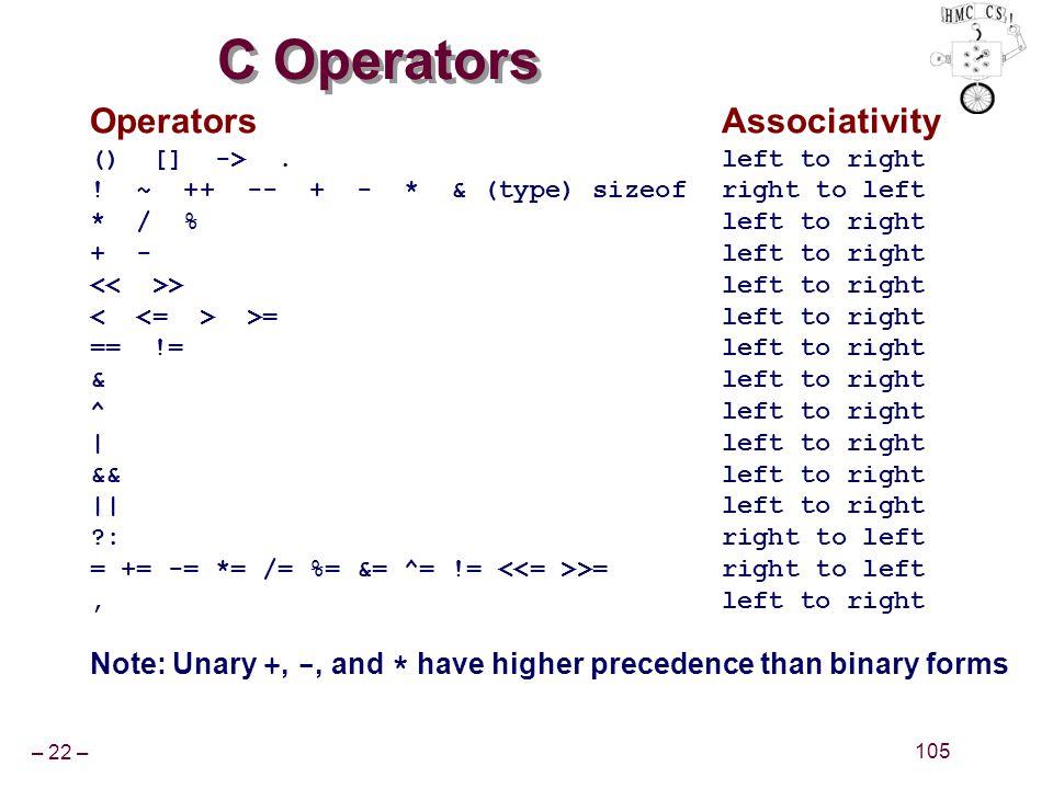 – 22 – 105 C Operators OperatorsAssociativity () [] ->.left to right .
