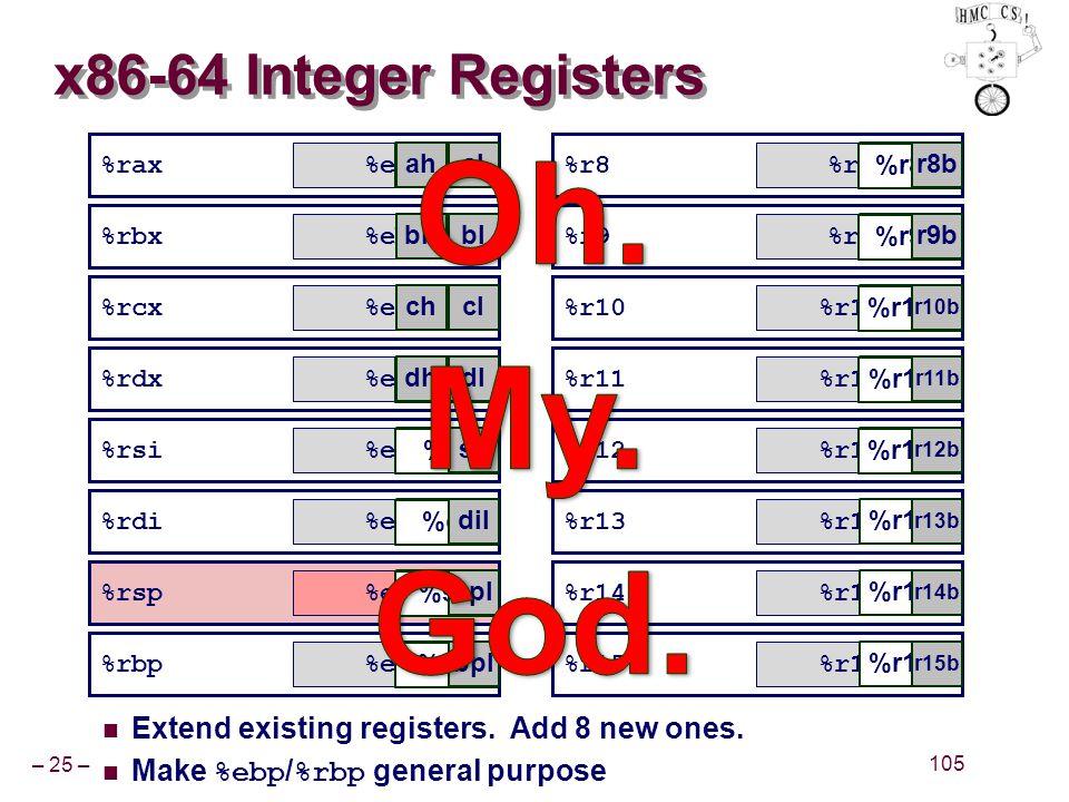 – 25 – 105 %rax %rbx %rcx %rdx %rsi %rdi %rsp %rbp x86-64 Integer Registers Extend existing registers. Add 8 new ones. Make %ebp / %rbp general purpos